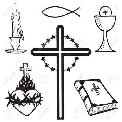 small resolution of christian hand drawn symbols illustration candle cross bible fish heart free clipart for church jesus hands