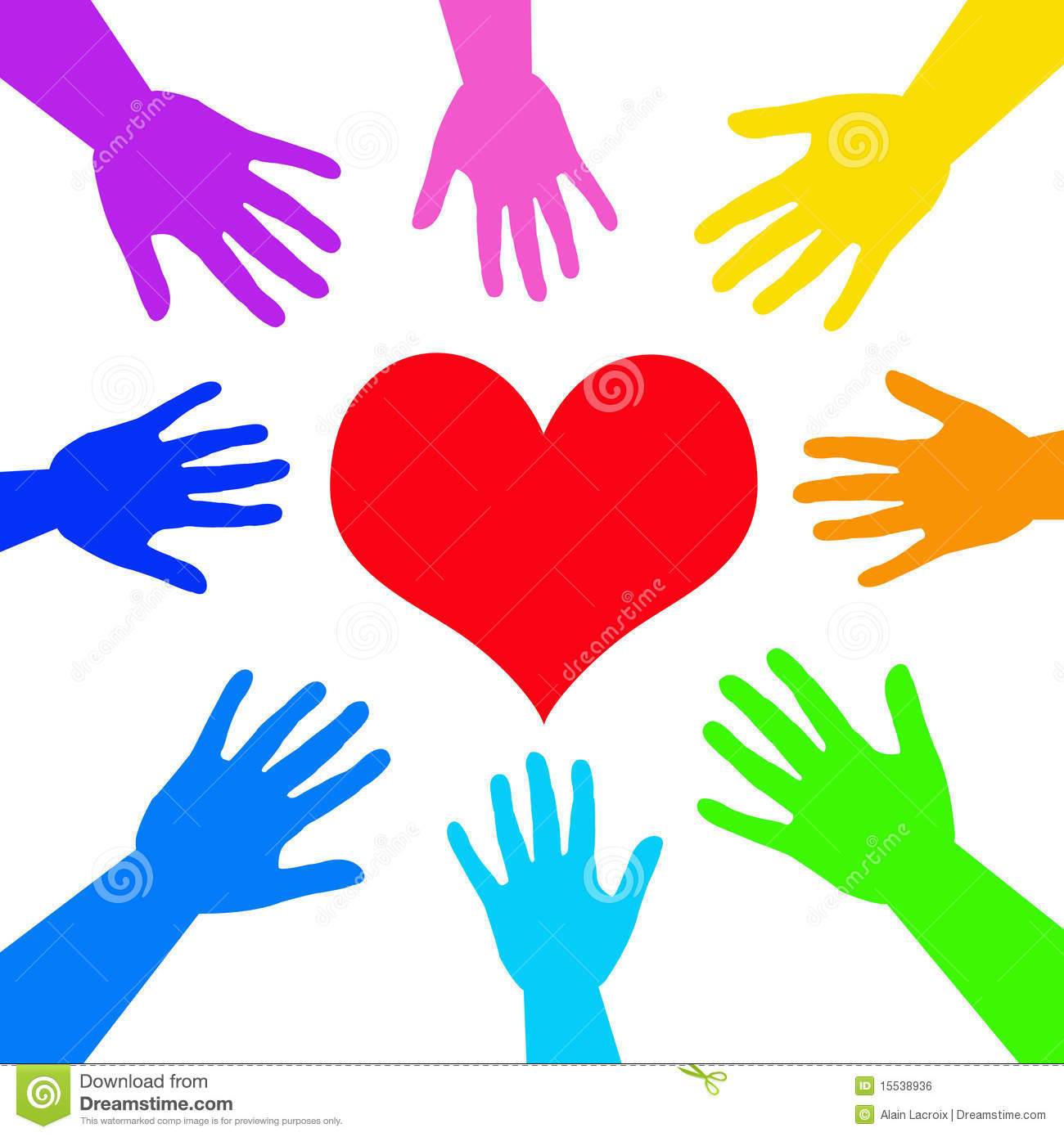 hight resolution of caring helping and loving people gathered around a heart