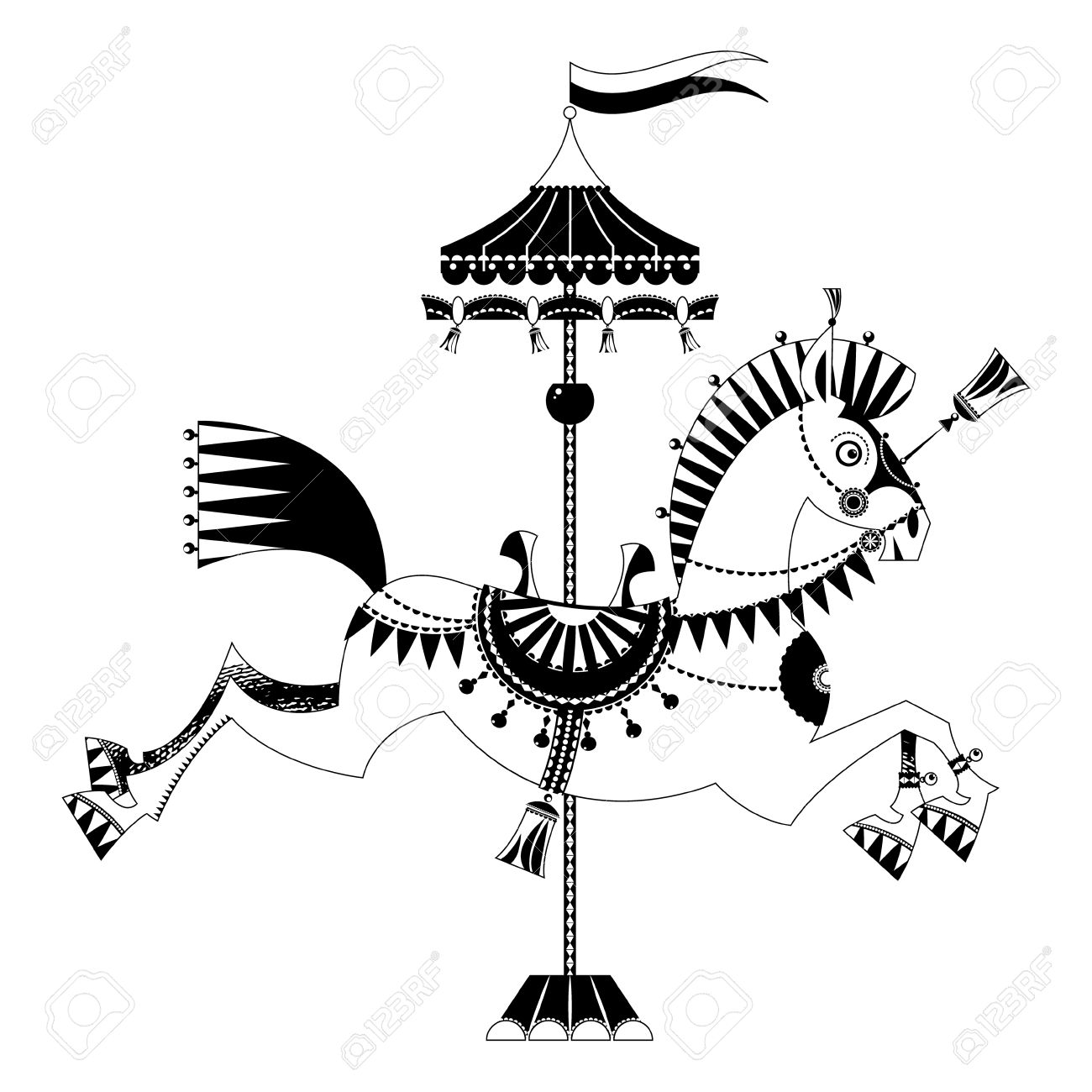 hight resolution of carousel horse silhouette clipart vector clipground