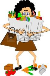 groceries carrying woman clipart bag carry lady grocery shopping trying illustration vector bags ground lots depositphotos clipground royalty dropping yellow