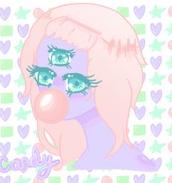 candy kawaii anime girl monster three eyed drawing digital art  [ 1152 x 1152 Pixel ]