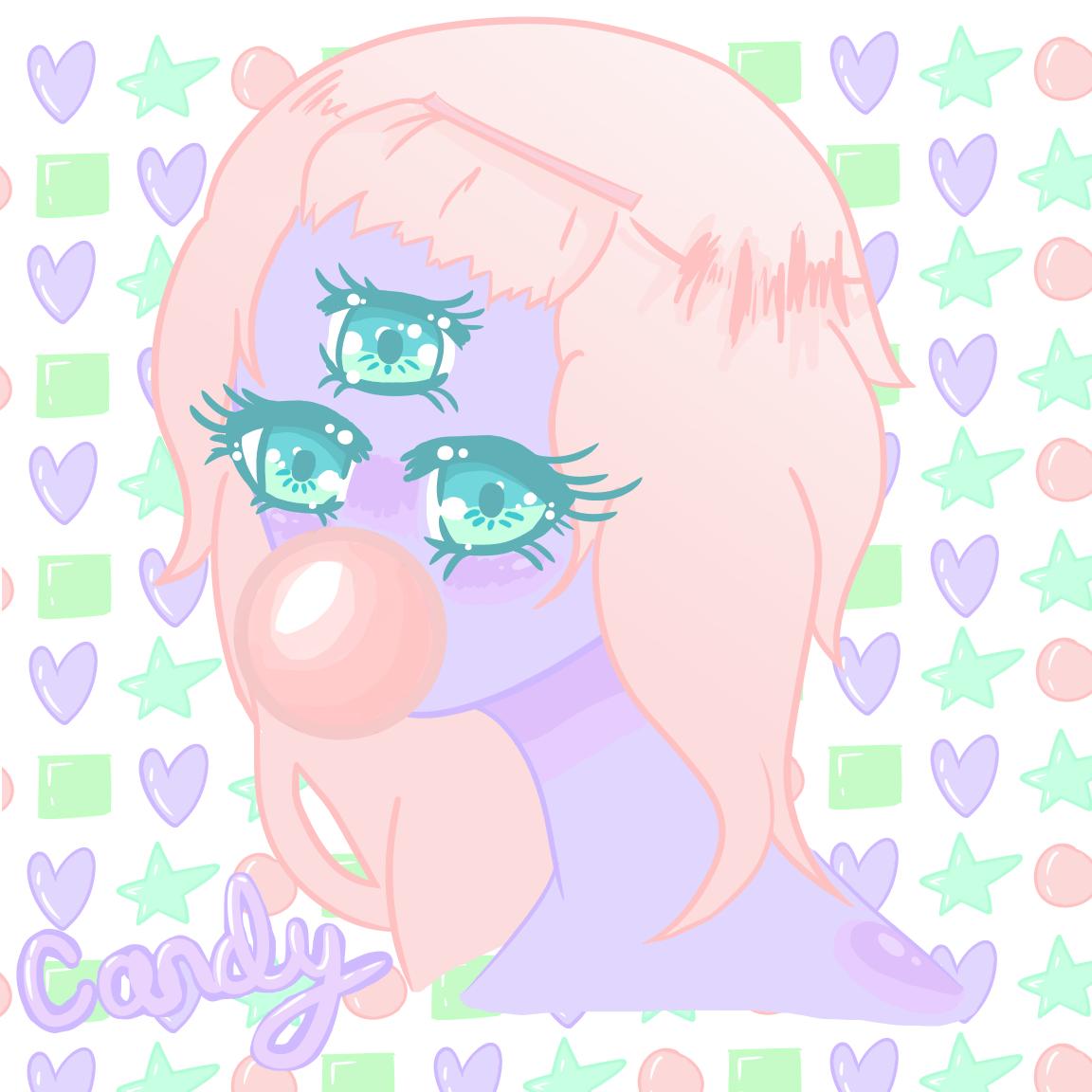 hight resolution of candy kawaii anime girl monster three eyed drawing digital art