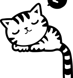 black and white cat sleeping clip art  [ 1728 x 2334 Pixel ]