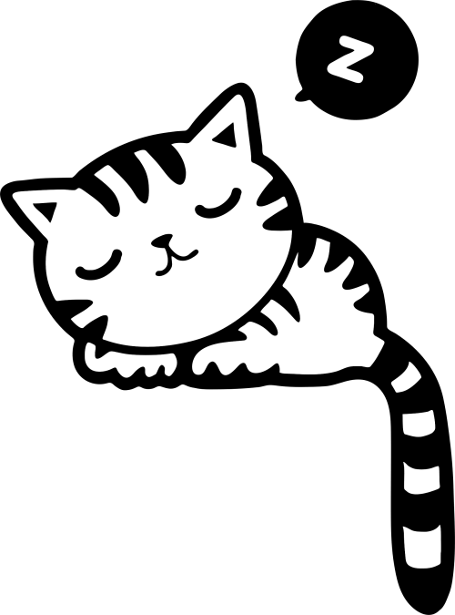 small resolution of black and white cat sleeping clip art