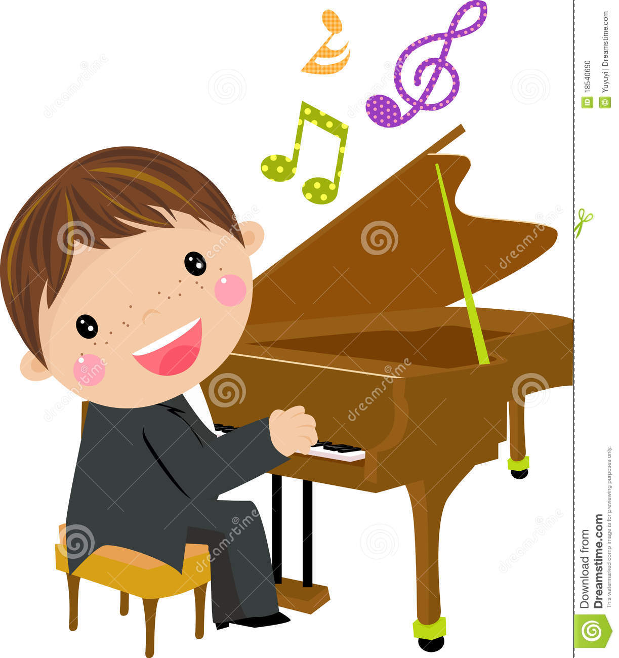 Child Playing Piano Clipart