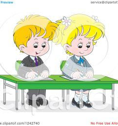 clipart of blond school children writing at their desk  [ 1080 x 1024 Pixel ]