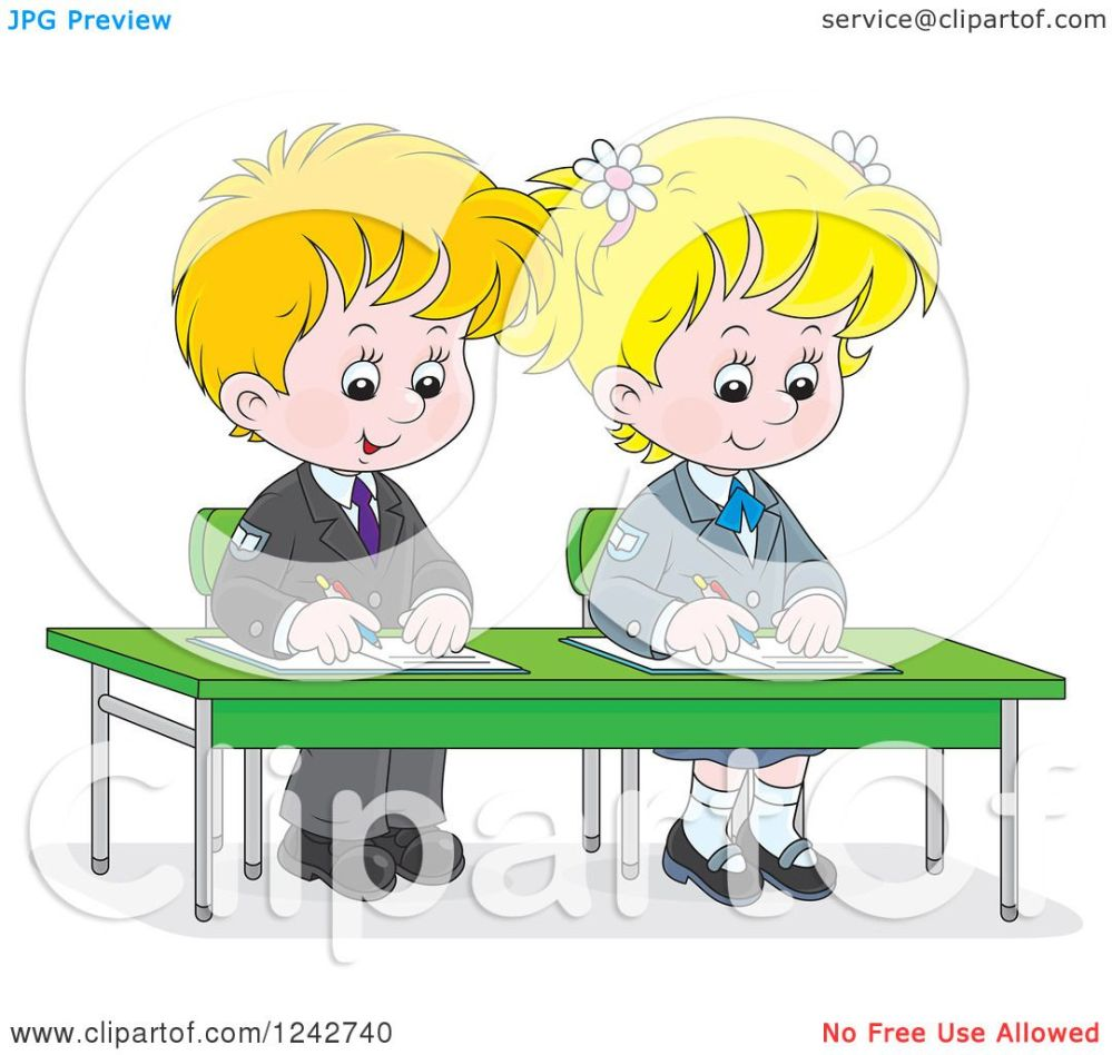 medium resolution of clipart of blond school children writing at their desk