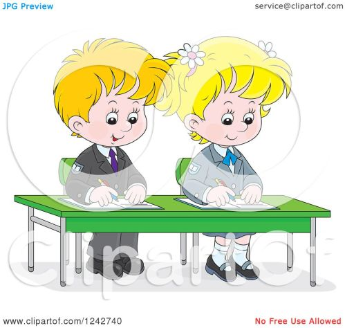 small resolution of clipart of blond school children writing at their desk