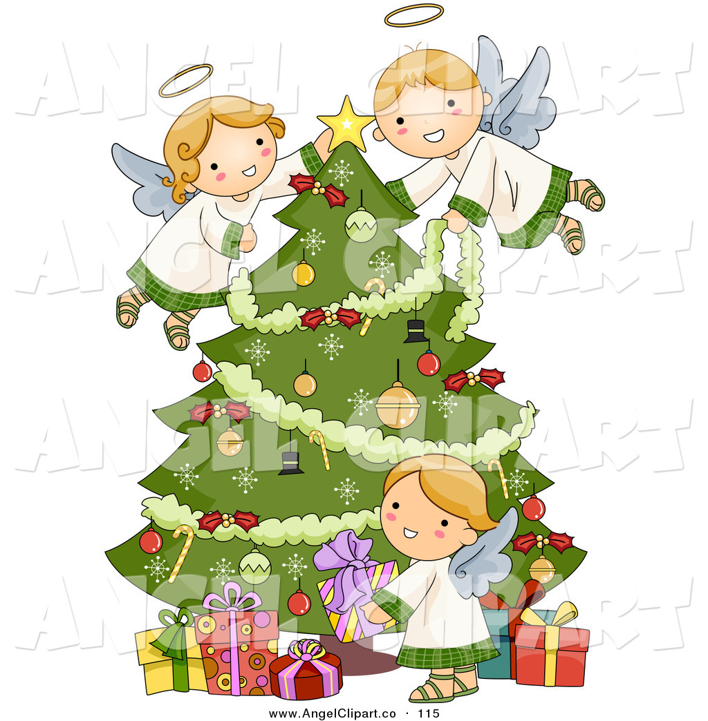 hight resolution of christmas angel tree clipart