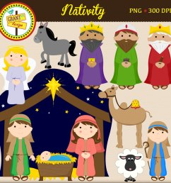 christmas characters nativity clipart  [ 1500 x 1500 Pixel ]