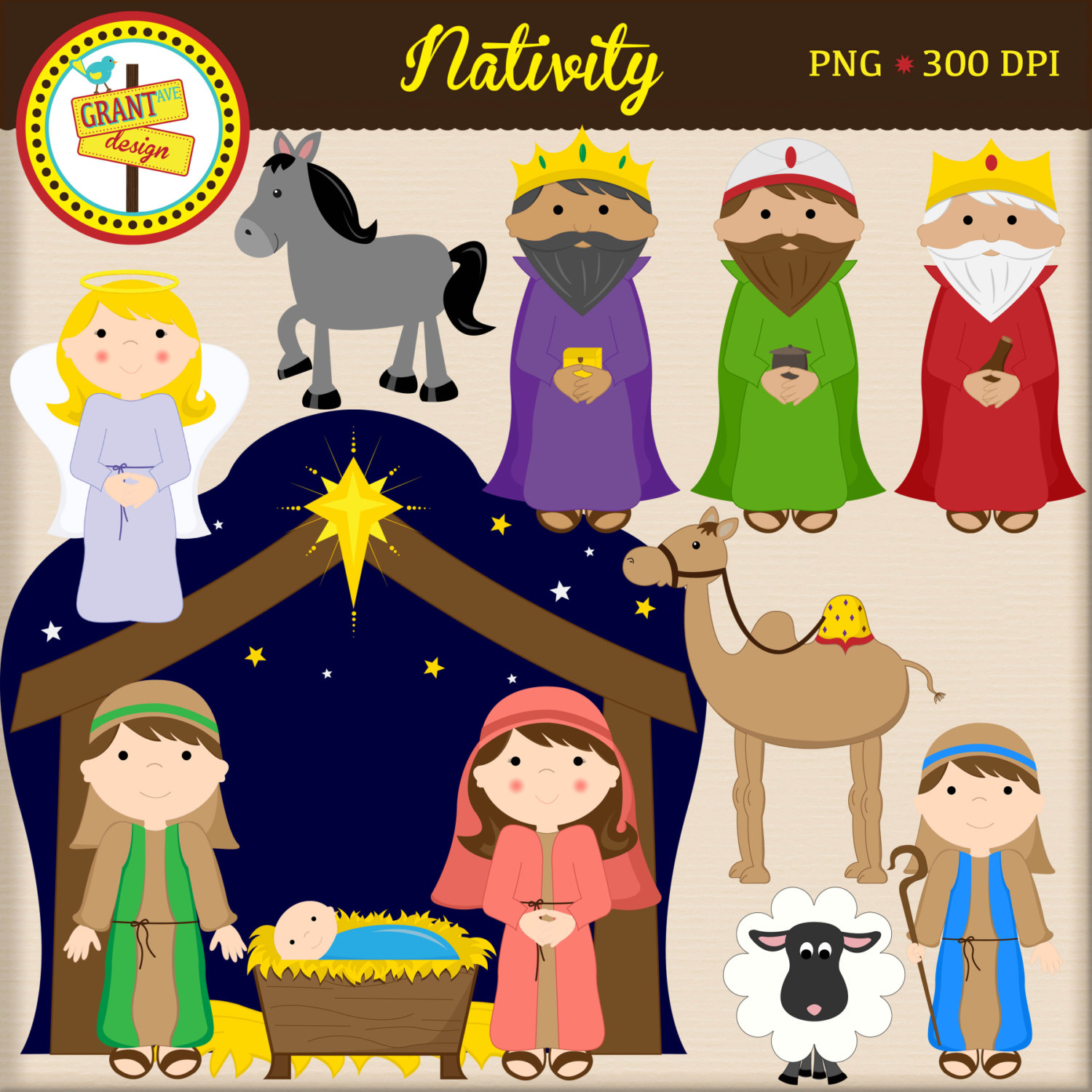 hight resolution of christmas characters nativity clipart