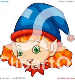 clipart of a curly red haired female christmas elf face  [ 1080 x 1024 Pixel ]