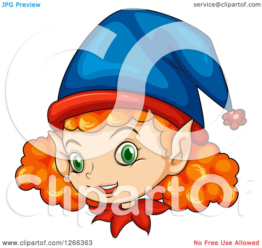 hight resolution of clipart of a curly red haired female christmas elf face