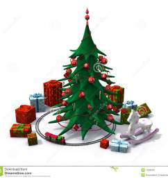 christmas tree with toys clipart  [ 1300 x 1246 Pixel ]