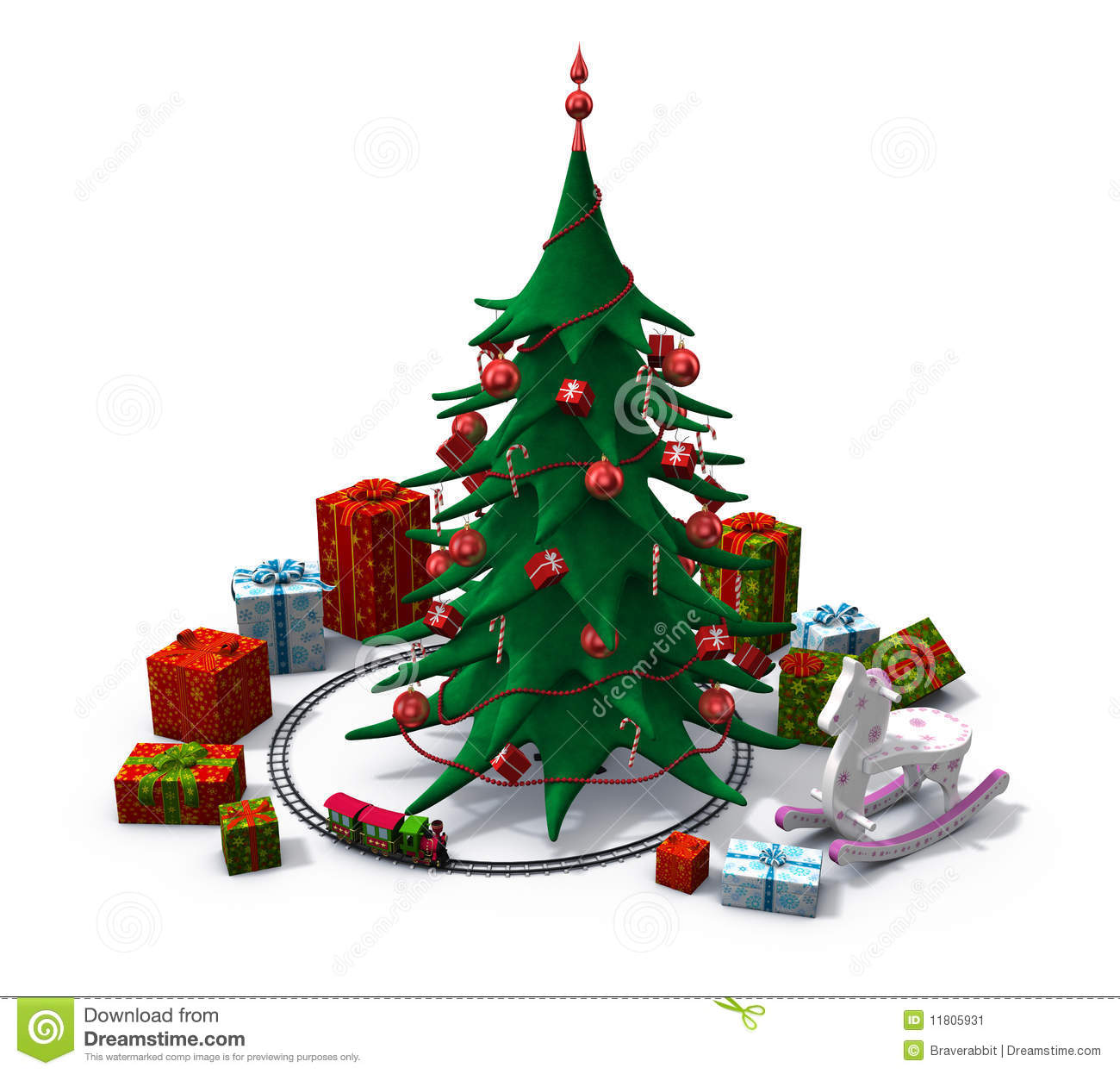 hight resolution of christmas tree with toys clipart