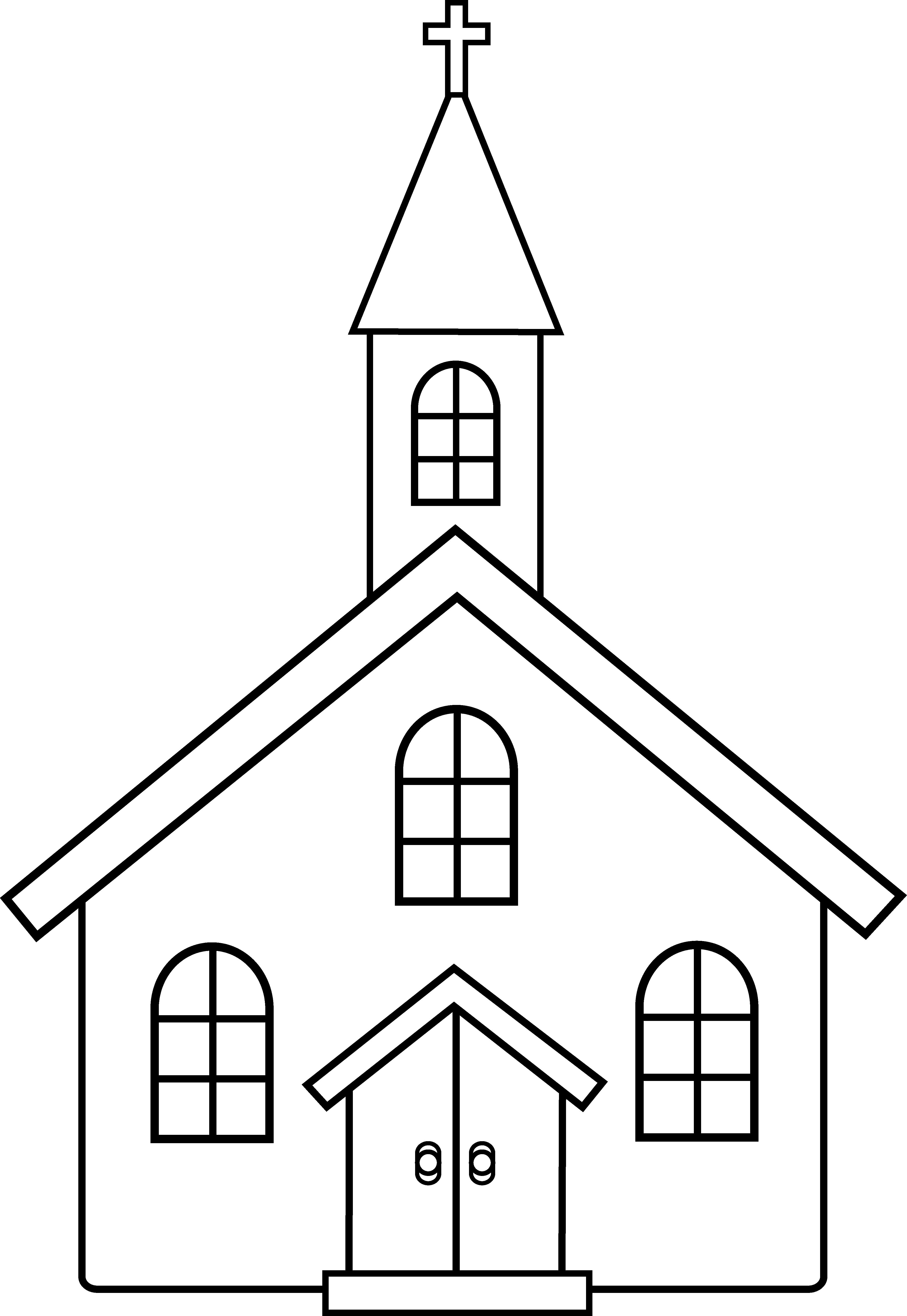 Church Black And White Clipart