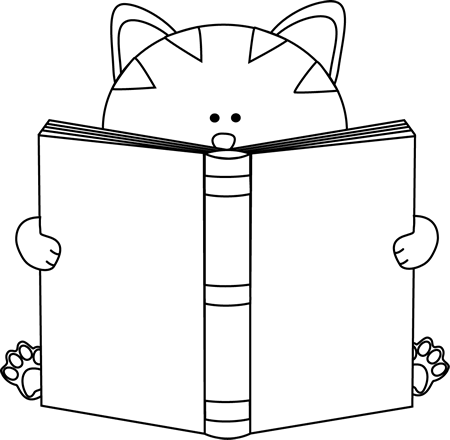 reading book clipart black