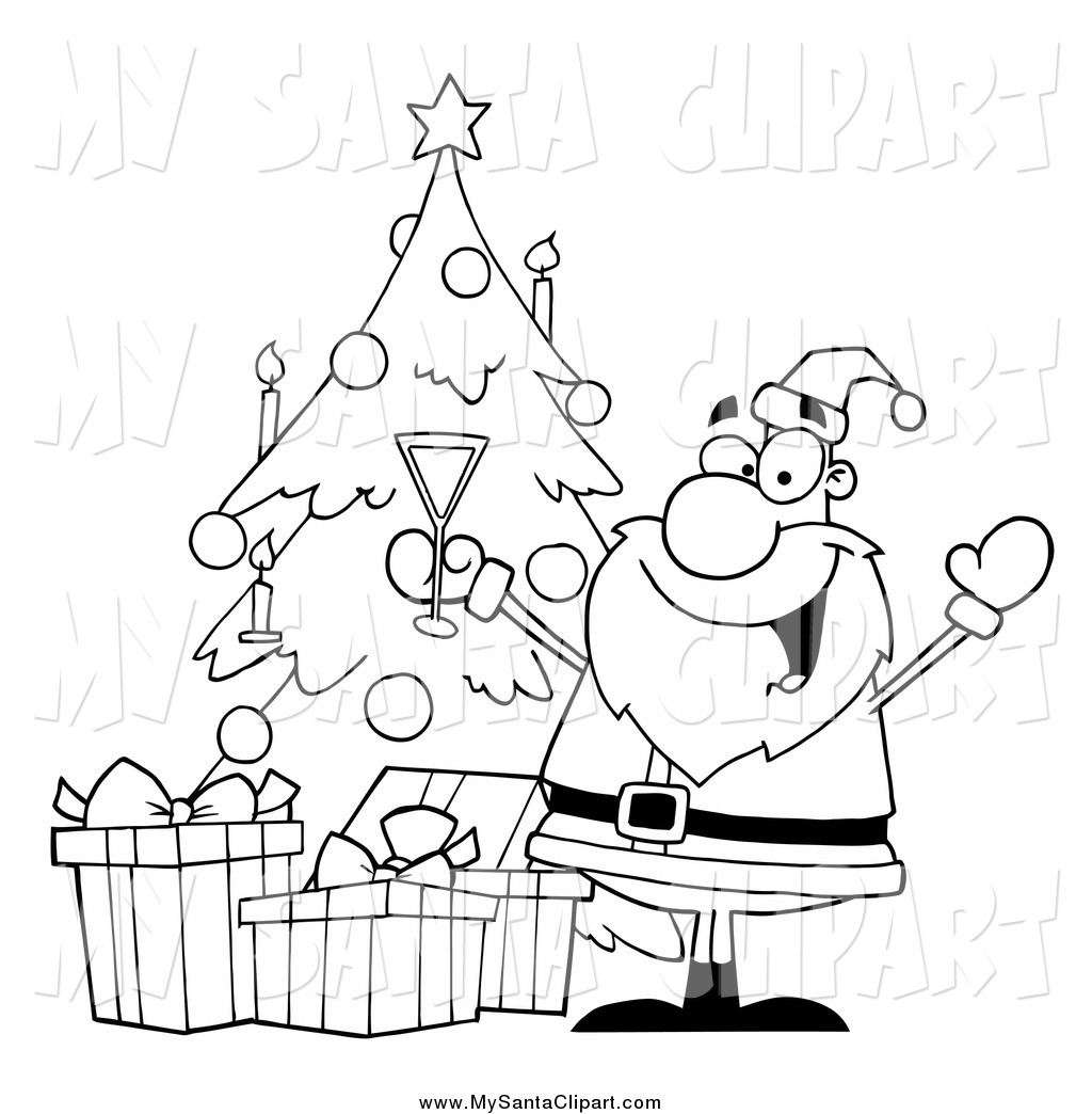Clipart Black And White Cat With Christmas Tree