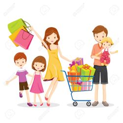 shopping clipart cartoon families clipground showing