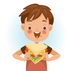 eating clipart sandwich boy child vector clip cartoon boys mood face illustrations children emotional feels delicious very happy bites clipground