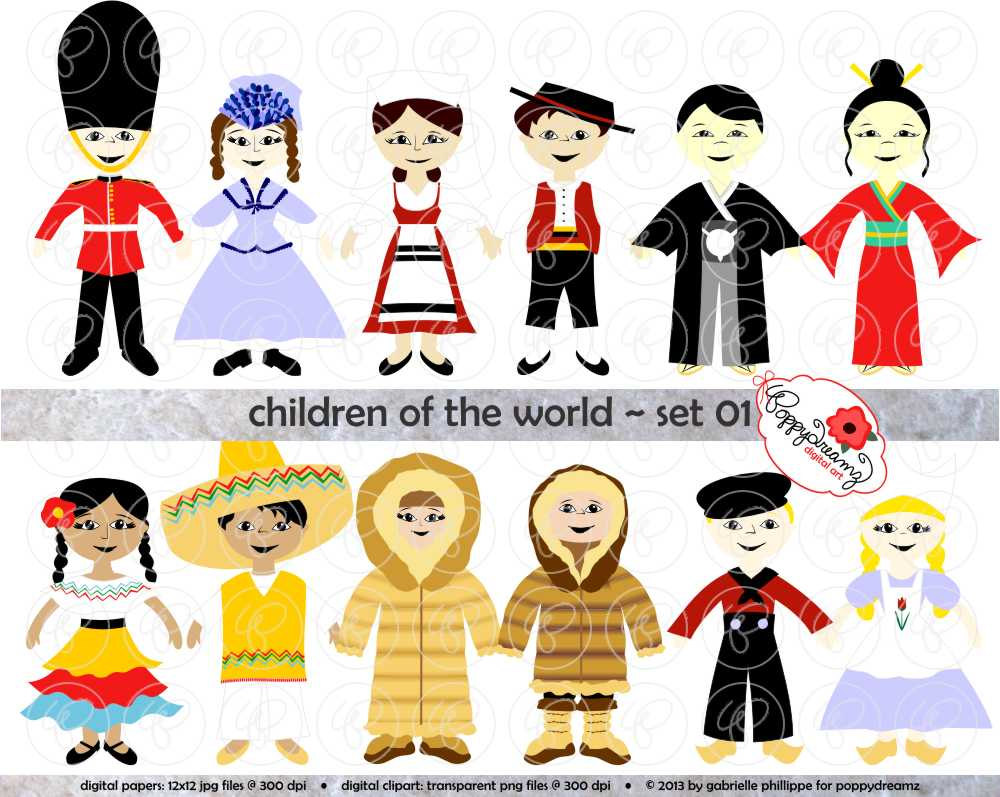 hight resolution of children of the world clipart