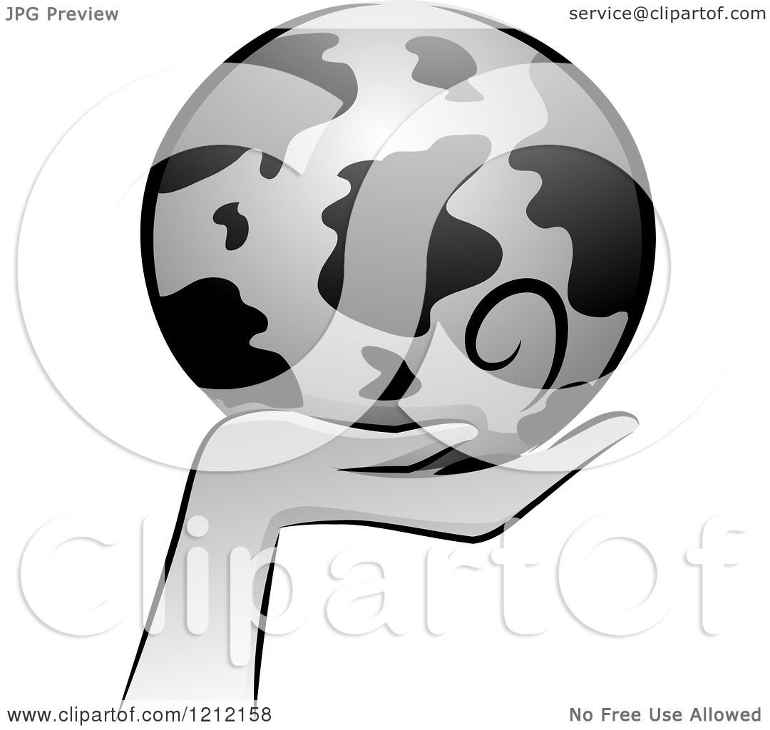 hight resolution of cartoon of a grayscale whimsical hand holding earth