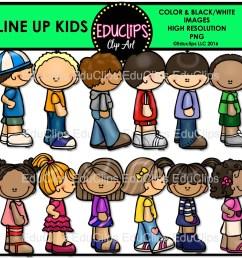 line up kids clip art bundle color and b w  [ 1241 x 1182 Pixel ]