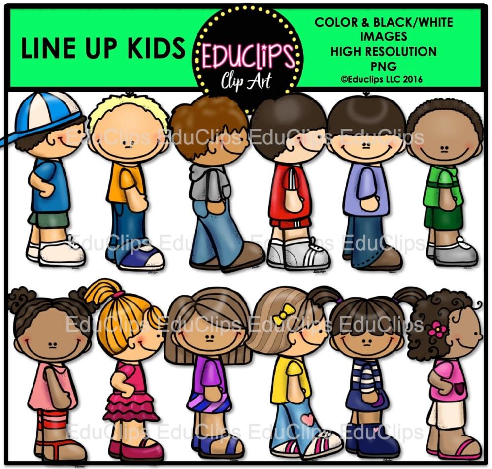 medium resolution of line up kids clip art bundle color and b w