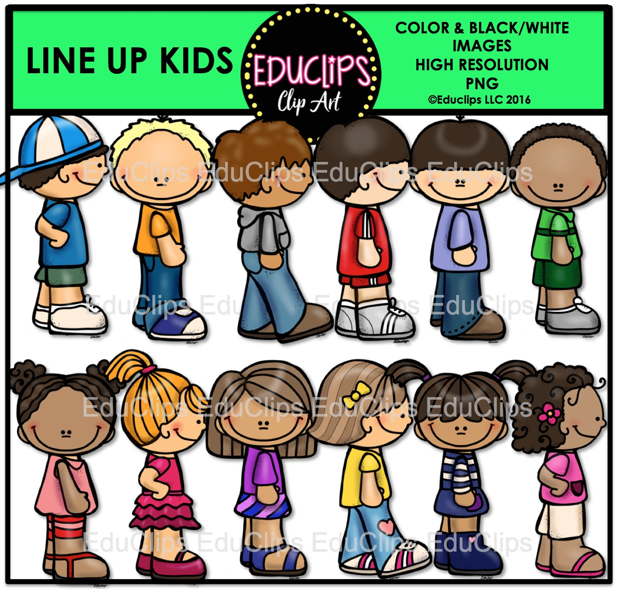 hight resolution of line up kids clip art bundle color and b w