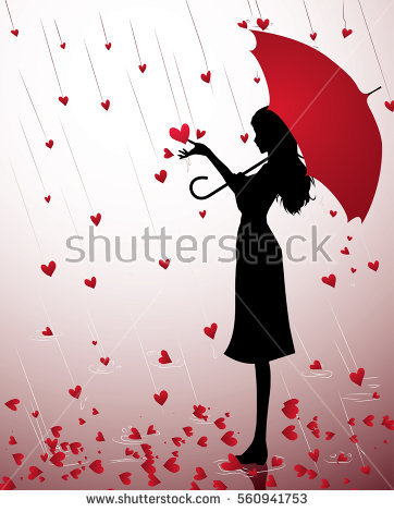 Clipart Little Girl Sitting With Umbrella Silhouette