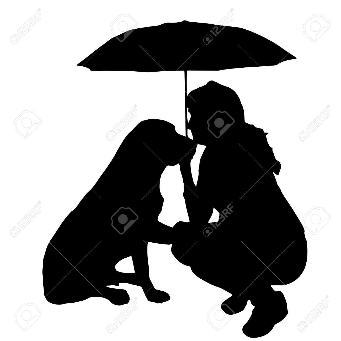 Girl Dancing In The Rain With Umbrella Silhouette
