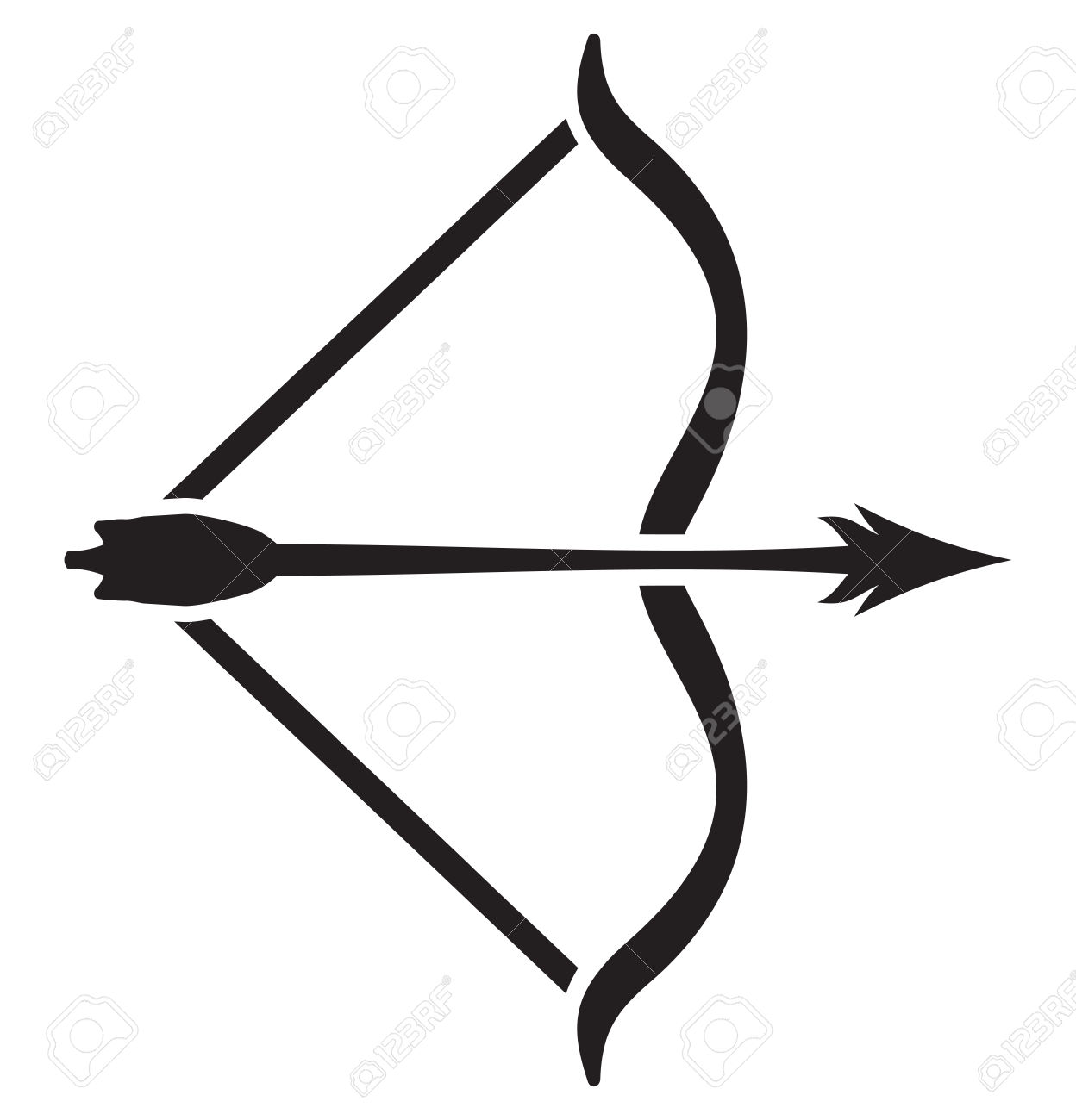 Clipart Of Archery Bow And Arrow Outline