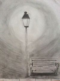 clipart silhouette of person on a bench near street lamp ...