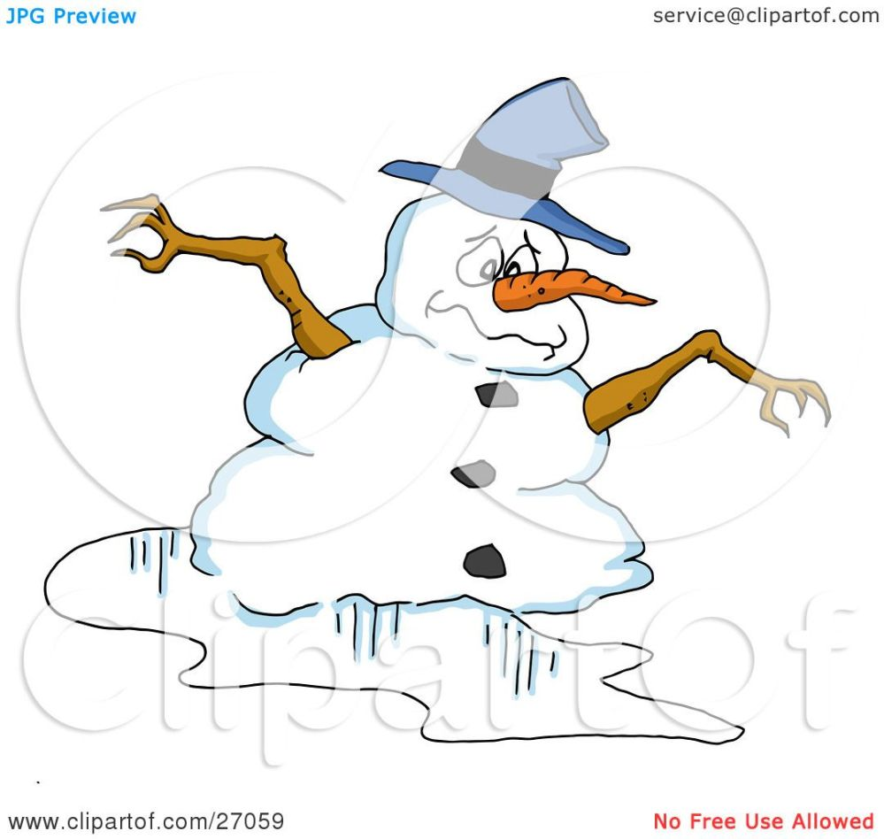 medium resolution of clipart illustration of a sad snowman with a blue hat carrot noes and twig arms melting