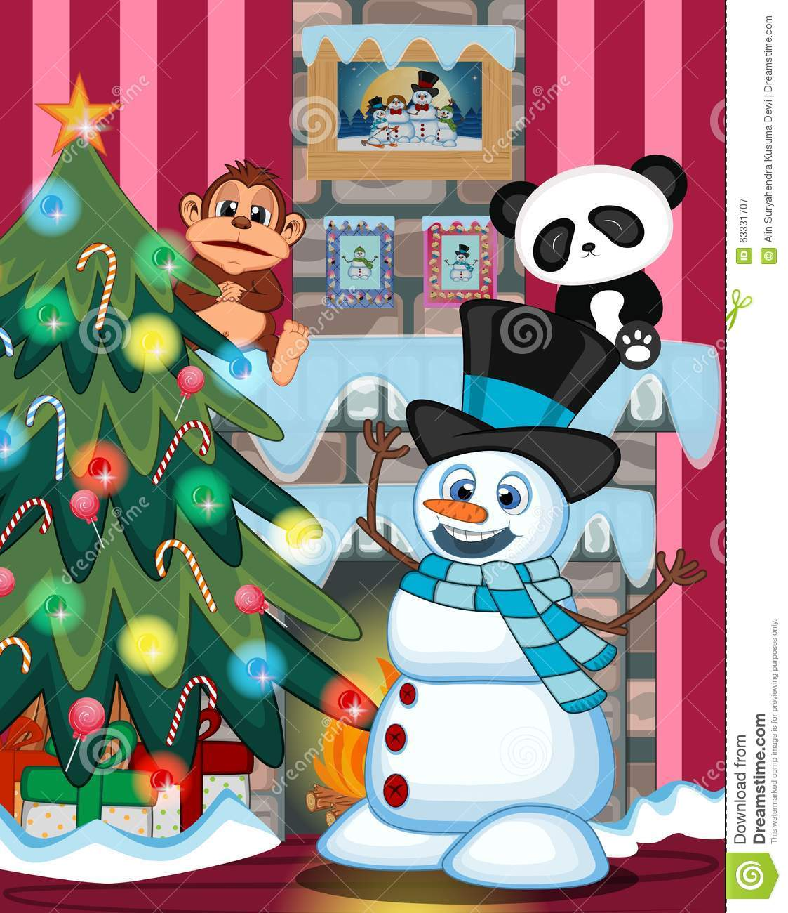 hight resolution of snowman wearing a hat and a blue scarf with christmas tree and