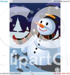 royalty free rf clipart illustration of a winter snowman in a scarf and top hat on a snowy night by mayawizard101 [ 1080 x 1024 Pixel ]