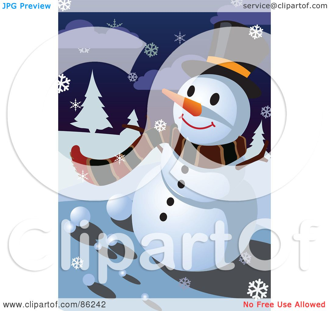 hight resolution of royalty free rf clipart illustration of a winter snowman in a scarf and top hat on a snowy night by mayawizard101
