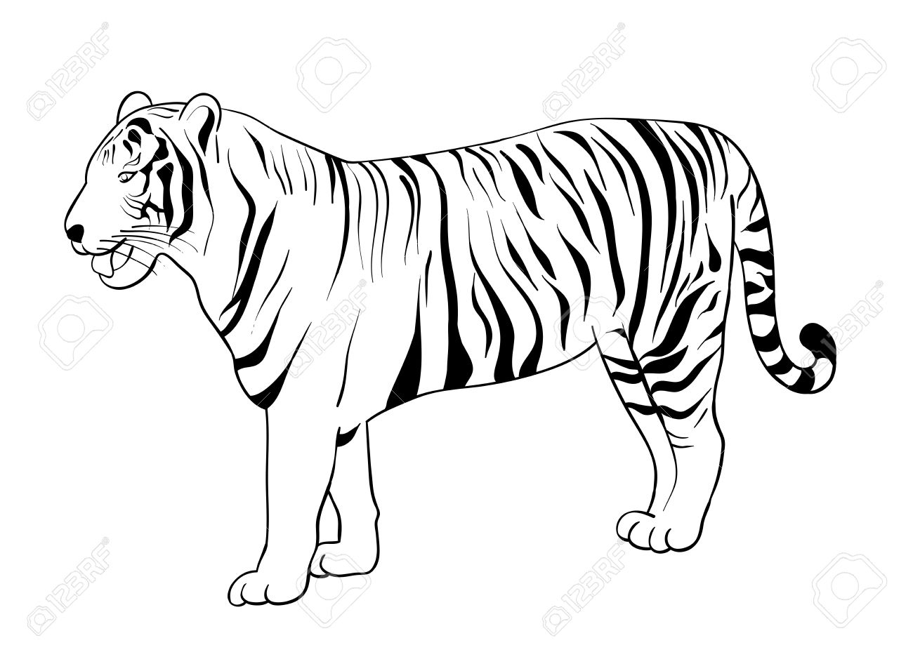 Clipart Tiger Black And White Silhouette