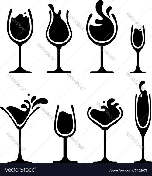 small resolution of silhouette of wine glass with splash royalty free vector image