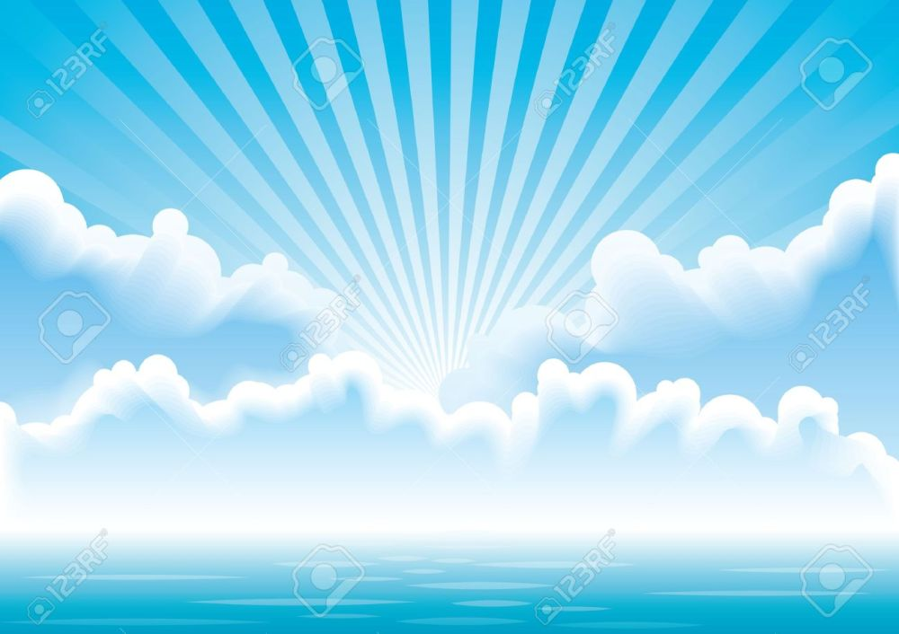 medium resolution of calm sea with clouds and sun rays above it royalty free cliparts