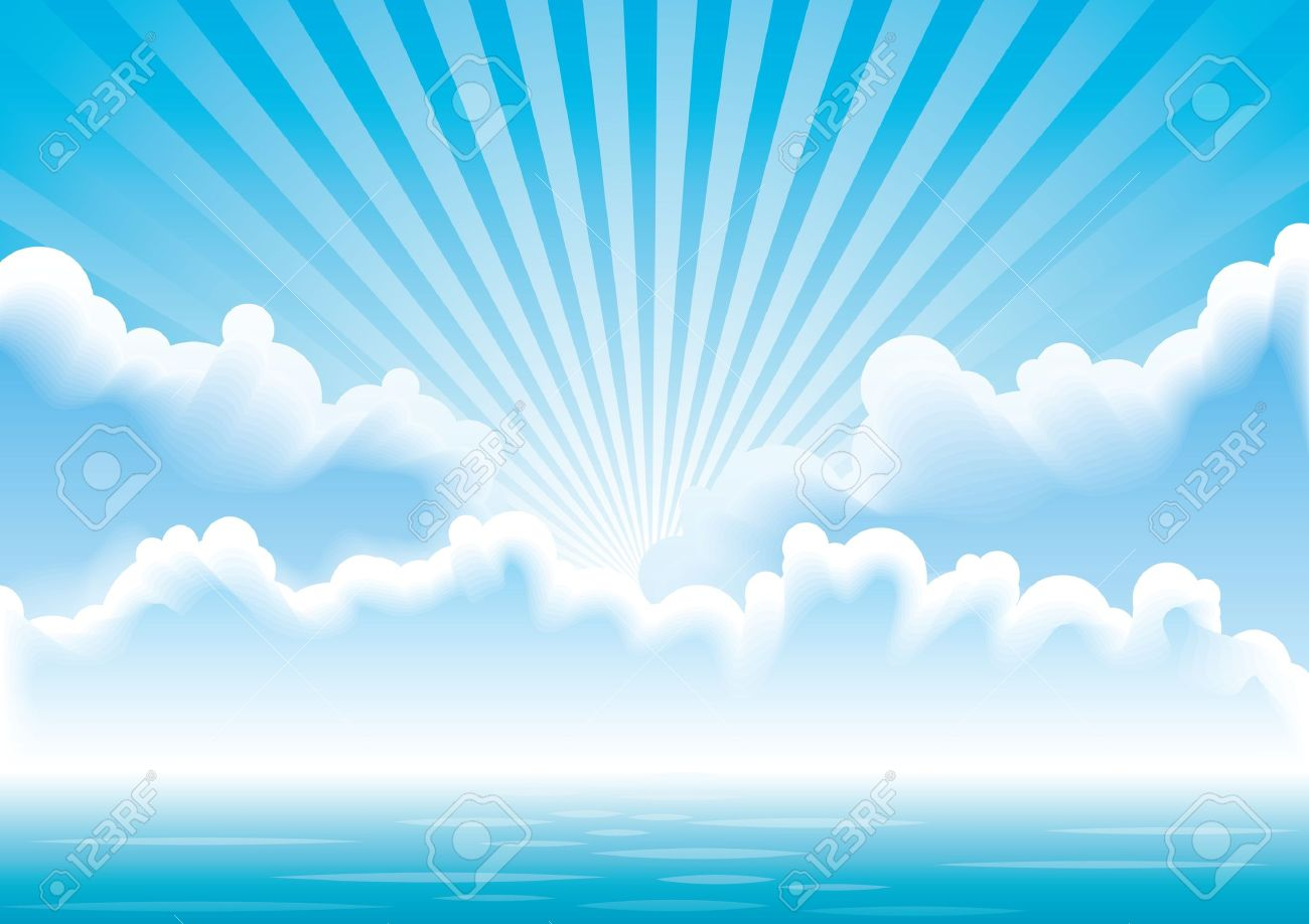 hight resolution of calm sea with clouds and sun rays above it royalty free cliparts