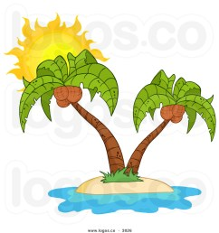 beach island palm tree with coconuts clipart  [ 1024 x 1044 Pixel ]