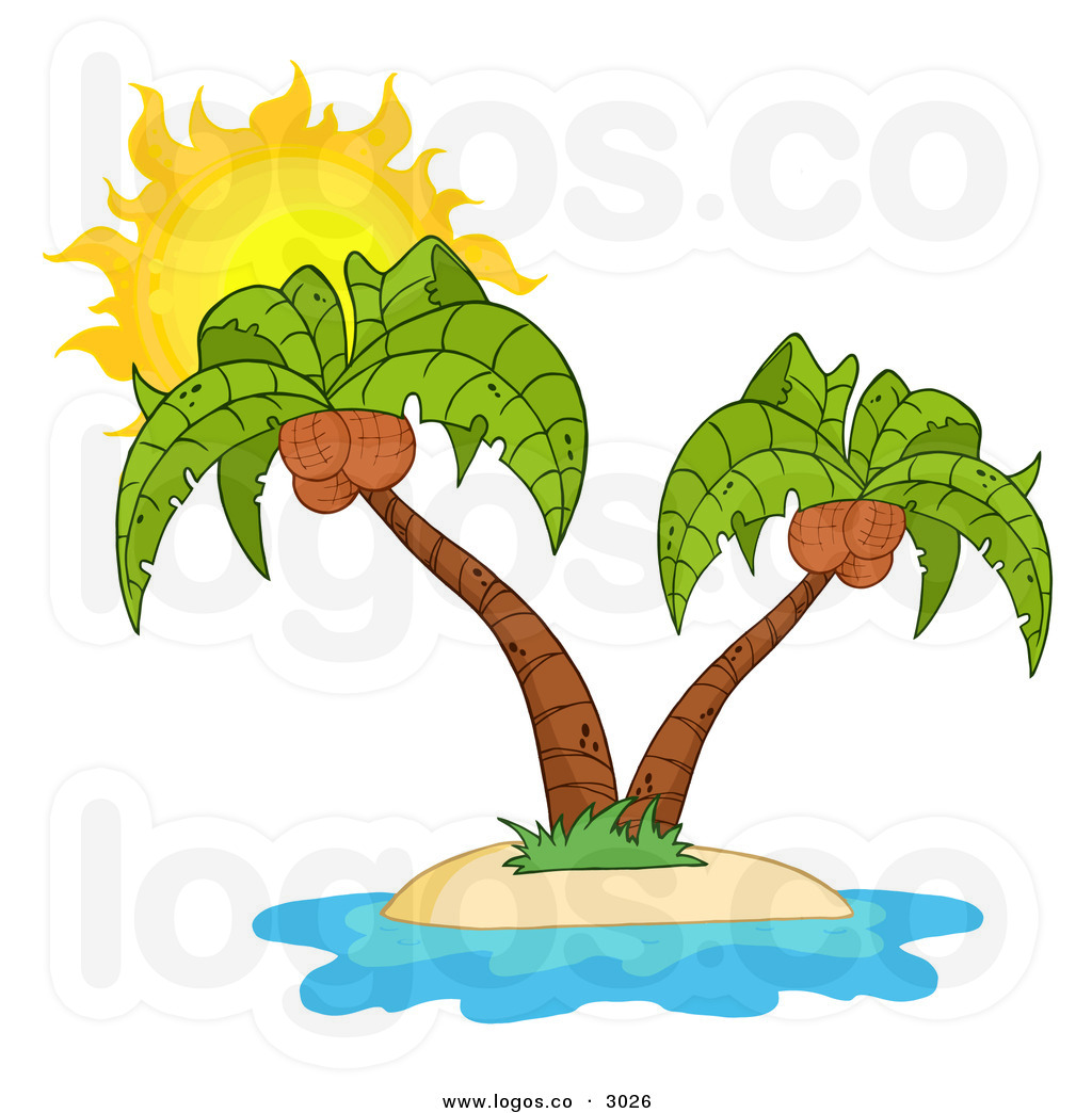 hight resolution of beach island palm tree with coconuts clipart