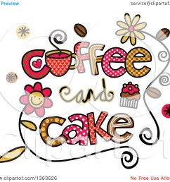 clipart of colorful sketched coffee and cake word art  [ 1080 x 1024 Pixel ]
