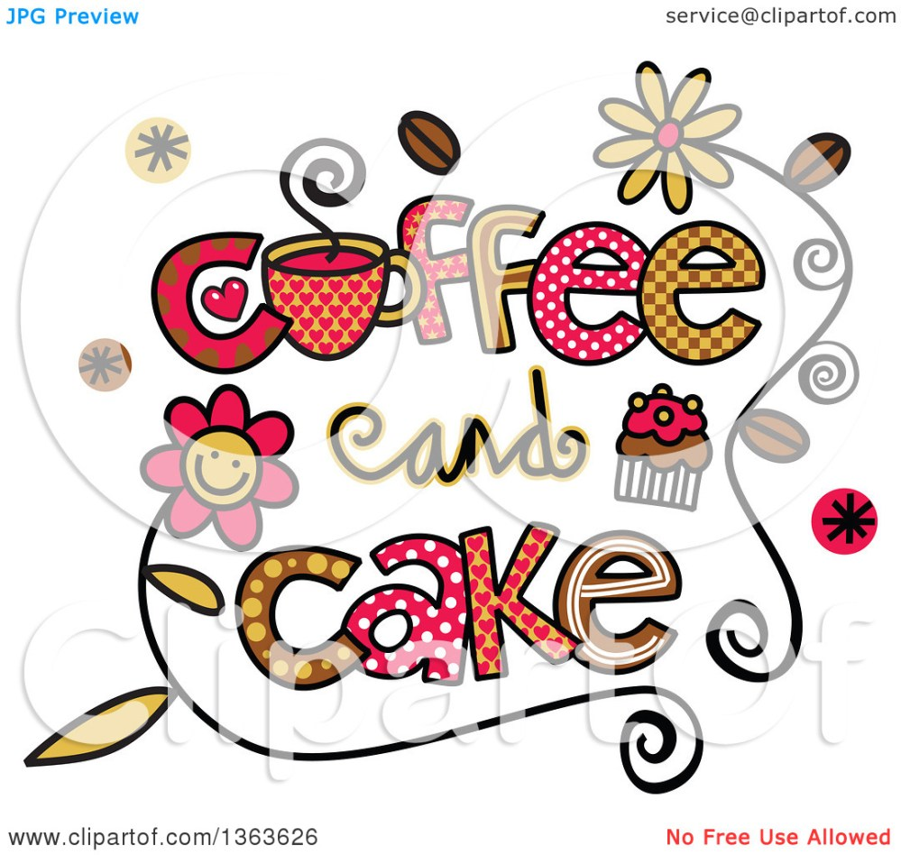 medium resolution of clipart of colorful sketched coffee and cake word art