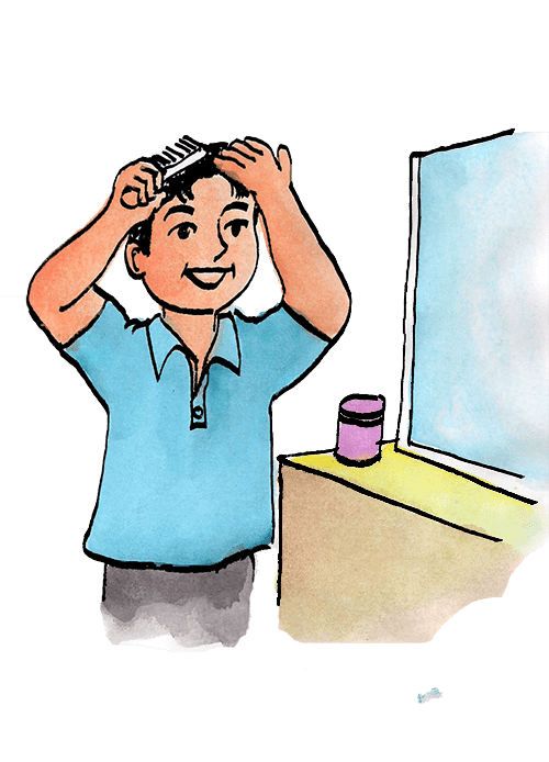 Combing Your Hair Clipart