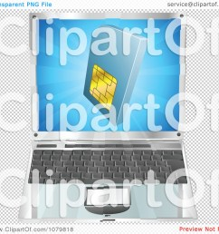 clipart 3d blue sim card over a laptop computer  [ 1080 x 1024 Pixel ]