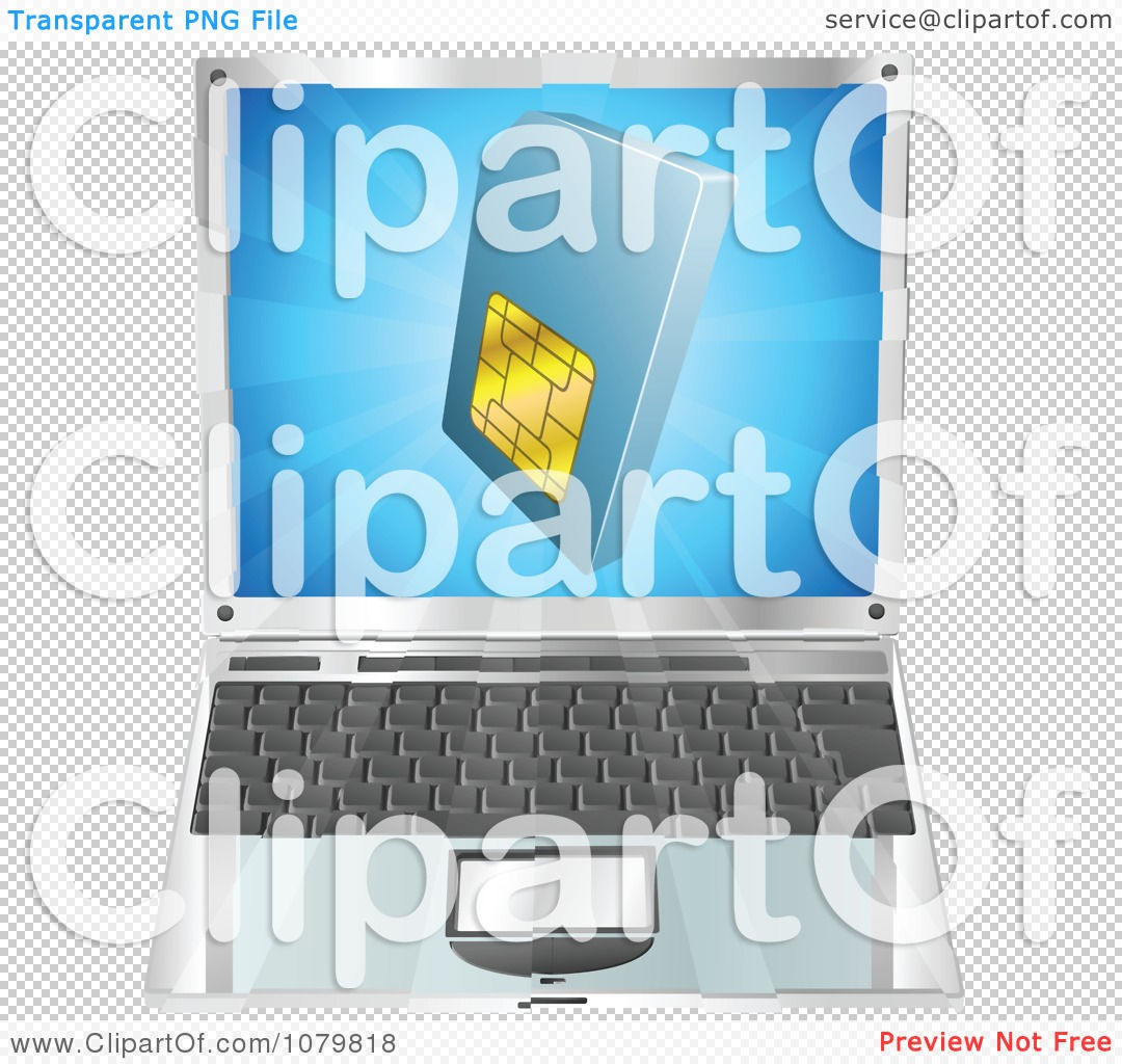 hight resolution of clipart 3d blue sim card over a laptop computer