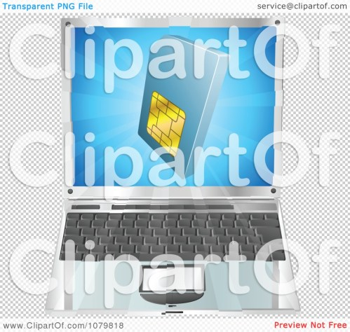 small resolution of clipart 3d blue sim card over a laptop computer