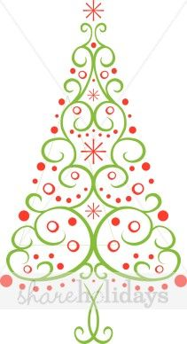 contempory christmas tree clipart